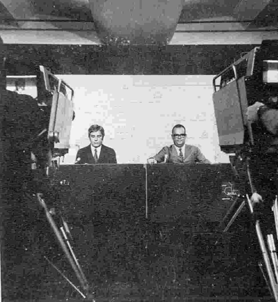 O Jornal Nacional estreou no dia 1º de setembro 1969 com Hilton Franco e Cid Moreira na bancada - Reprodução
