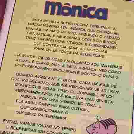 Página interna de reedição do número 1 da Turma da Mônica retrata a original encontrada à venda na CCXP - Iwi Onodera/UOL