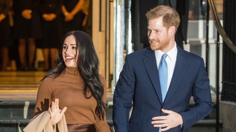 A duquesa e o duque de Sussex, Meghan Markle e Harry, durante visita à Canada House, em Londres - Getty Images