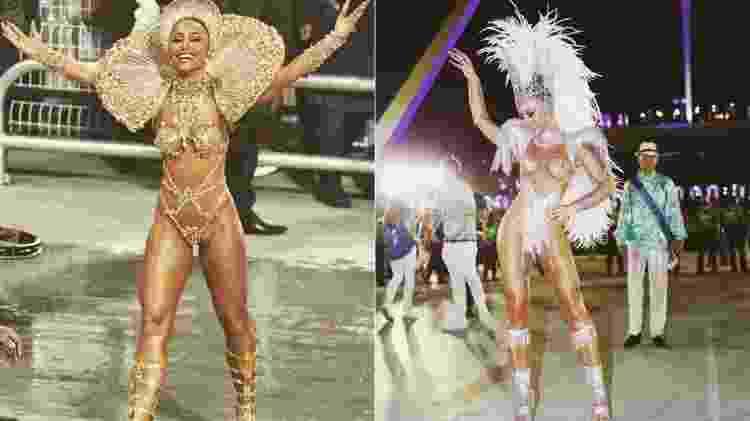 Sabrina Sato no desfile da Gaviões da Fiel, à esquerda, e no da Vila Isabel, à direita - Reprodução/Instagram - Reprodução/Instagram