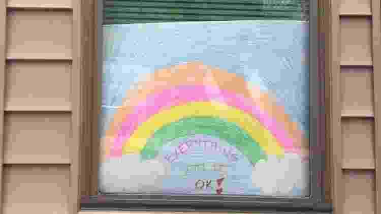 Arco-iris: Janela em Lawrence, no Kansas, região central dos Estados Unidos - Arquivo pessoal - Arquivo pessoal