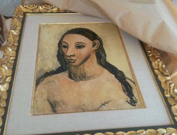 """O quadro """"Cabeça de uma Jovem Mulher"""", de Pablo Picasso, alvo de disputa entre um banqueiro espanhol e o governo do país - AFP PHOTO"""