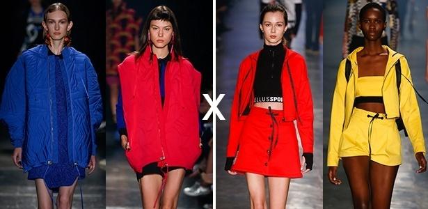 À esquerda, looks desfilados pela Gig Couture e à direita, modelos apresentam a coleção da Ellus - Alexandre Schneider/UOL