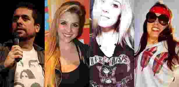 """Mauricio Meirelles, Clara Aguilar, Emely Dal Castel e Monique Bianco vão até Las Vegas, nos EUA, para assistir ao retorno de Slash e Duff McKagan ao Guns N"""" Roses, em abril - Divulgação, Thiago Duran/AgNews e Arquivo pessoal"""