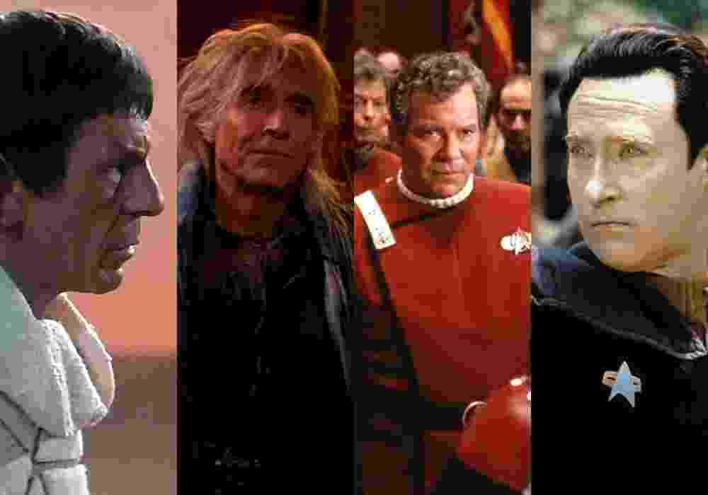 """Cenas dos filmes """"Jornada nas Estrelas III - À Procura de Spock"""" (1984), """"Jornada nas Estrelas - Insurreição"""" (1998), """"Jornada nas Estrelas VI - A Terra Desconhecida"""" (1991) e """"Jornada nas Estrelas II - A Ira de Khan"""" (1982) - Reprodução/Montagem"""