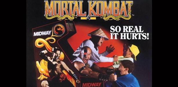"""Até mesmo as propagandas de alguns games, como """"Mortal Kombat"""", apelavam para a violência - e envolviam crianças - Reprodução"""
