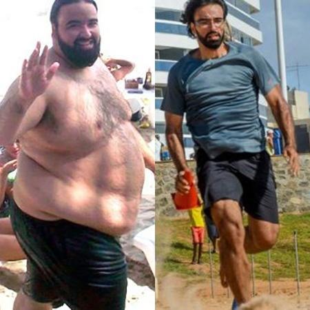 Antes e depois Fabiano Lacerda: ele chegou a pesar 193 kg - Arquivo Pessoal