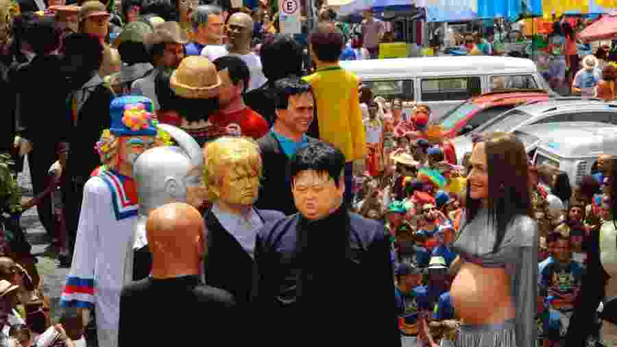 Bonecos de  Kim Jong-un e Donald Trump em Olinda - Jean Nunes/Brazil Photo Press/Folhapress