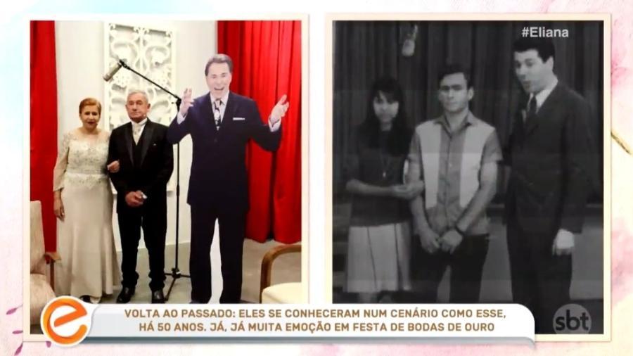 """Casal formado em programa de Silvio Santos faz álbum de casamento com """"Silvio de papelão"""" no programa """"Eliana"""" - Reprodução/SBT"""