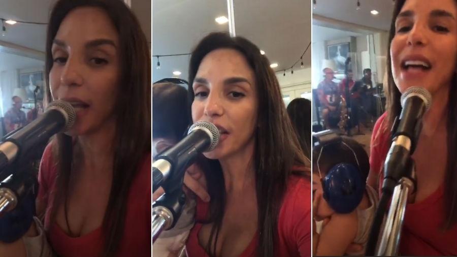 Ivete Sangalo em ensaio com uma das filhas gêmeas no colo - Reprodução/Instagram
