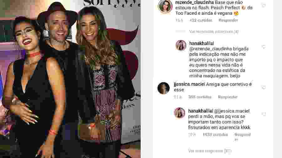 Hana em foto com Paulo Gustavo e Mônica Martelli. Seguidores criticaram maquiagem da ex-BBB, que rebateu - Reprodução/Instagram