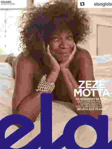 Zezé Mota posa sem roupa para a capa da revista Ela, do jornal O Globo - Reprodução/Instagram