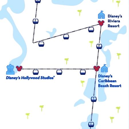 Mapa mostra parte dos trajetos do novo teleférico da Disney - Divulgação/Walt Disney World