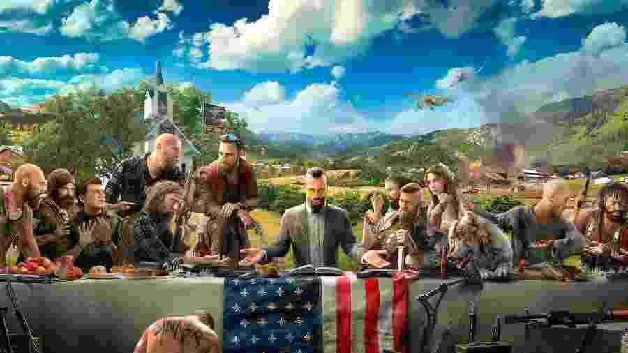 """Joseph Seed na """"Santa Ceia"""" de """"Far Cry 5"""" - Divulgação"""