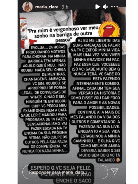 Story Maria Clara - Reprodução/Instagram/@maria_clara - Reprodução/Instagram/@maria_clara