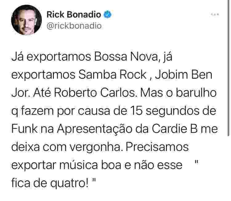 Rick Bonadio fala de Grammy 2020 no Twitter - Reprodução/Twitter - Reprodução/Twitter