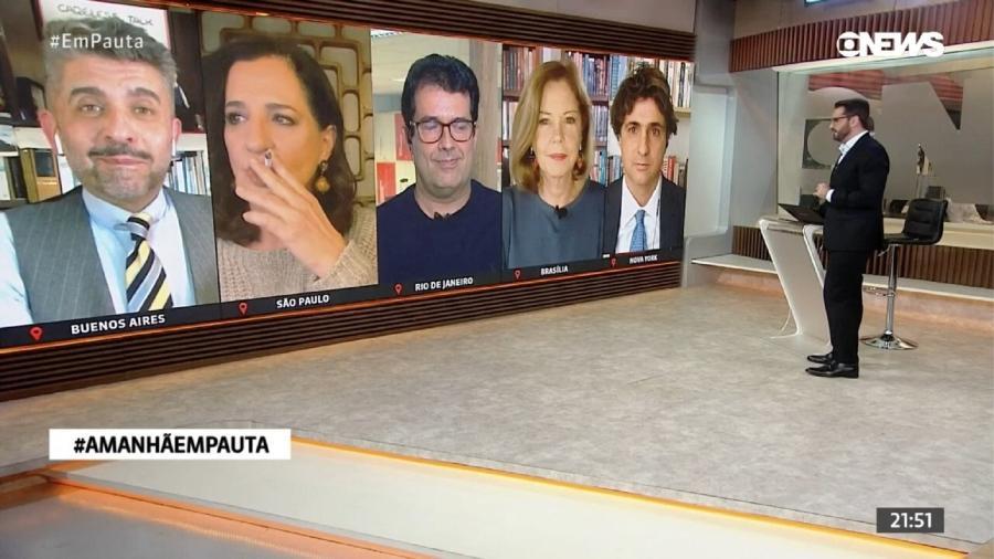 Mônica Waldvoguel fumou durante jornal - Reprodução/GloboNews