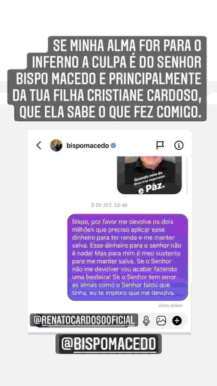 Andressa Urach desabafa nas redes sociais sobre Bispo Edir Macedo - Reprodução/Instagram - Reprodução/Instagram