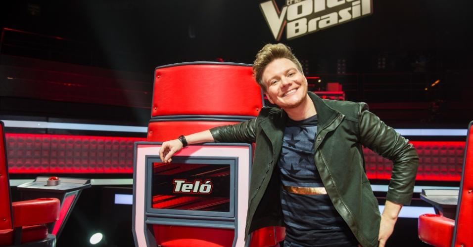 Michel Teló durante o lançamento da nova temporada do