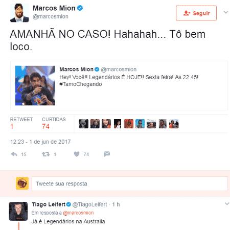 Marcos Mion e Tiago Leifert brincam - Reprodução/Twitter - Reprodução/Twitter