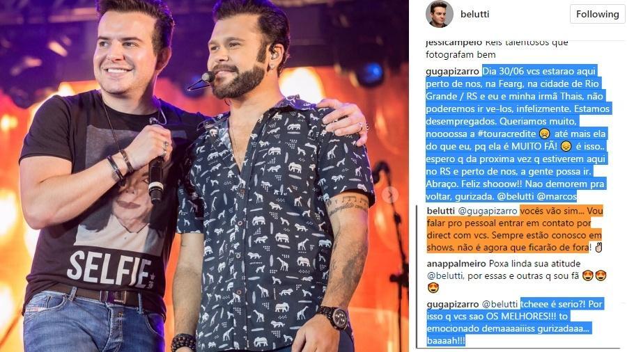"""""""Sempre estão conosco em shows, não é agora que ficarão de fora"""", respondeu Belutti ao pedido - Reprodução/UOL"""