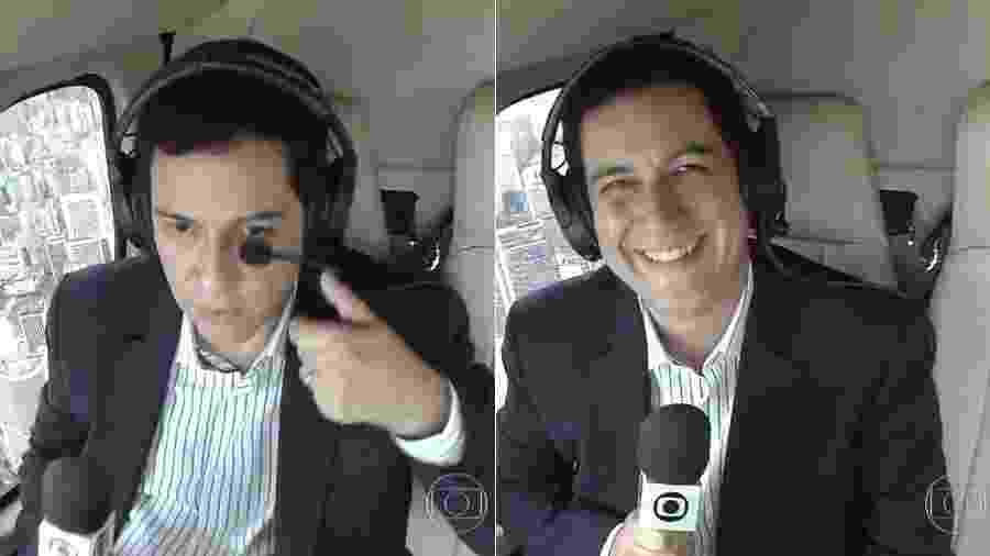 """Repórter Walace Lara é """"flagrado"""" se arrumando no helicóptero da Globo e fica constrangido no """"SPTV 1ª Edição"""" - Montagem/Reprodução/TV Globo"""