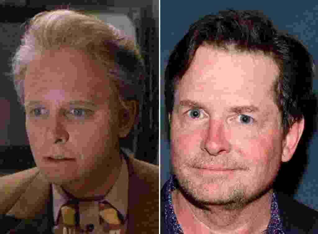 """À esquerda, Michael J. Fox faz o papel de Marty McFly mais velho em """"De Volta para o Futuro 2"""" (1989). À direita, Michael J. Fox, então com 54 anos, em 2015 - Reprodução"""