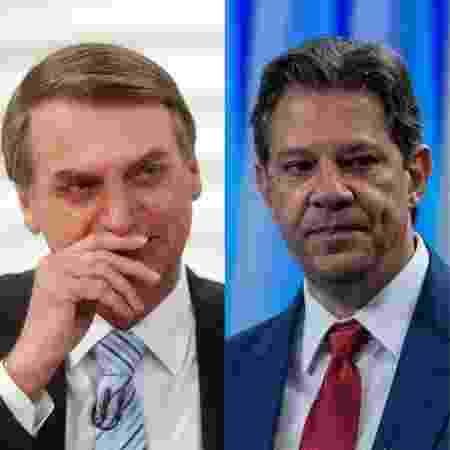 Bolsonaro e Haddad disputaram o 2º turno das eleições no ano passado - Montagem UOL