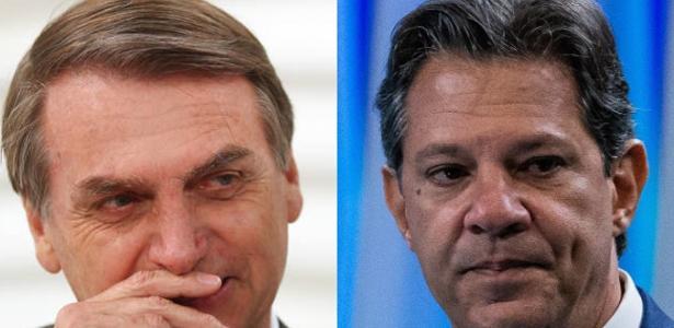 Os presidenciáveis Jair Bolsonaro (à esq.) e Fernando Haddad
