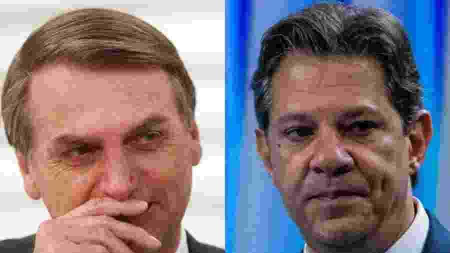 Jair Bolsonaro e Fernando Haddad disputam o segundo turno da eleição presidencial - Montagem UOL