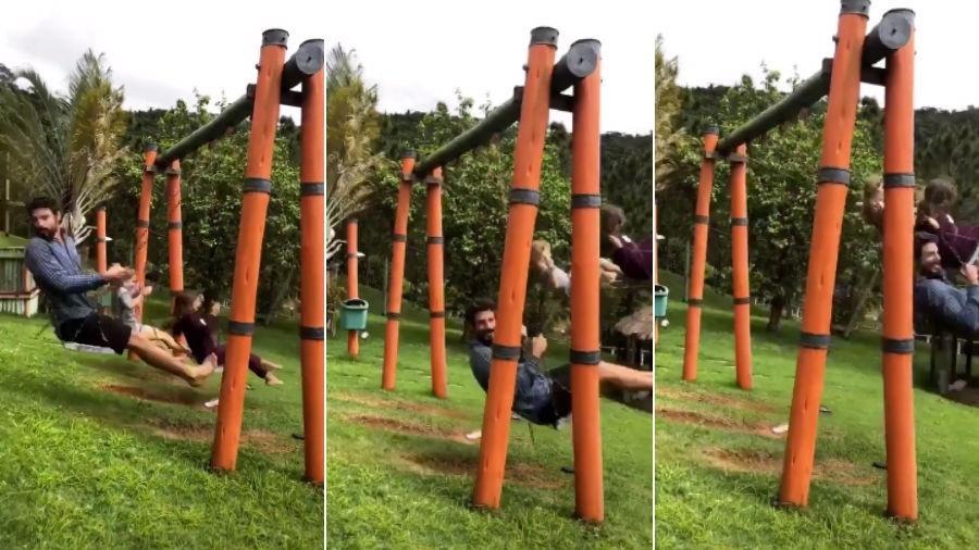 Cauã Reymond no balanço ao lado da filha, Sofia, em vídeo feito por Mariana Goldfarb - Reprodução/Instagram