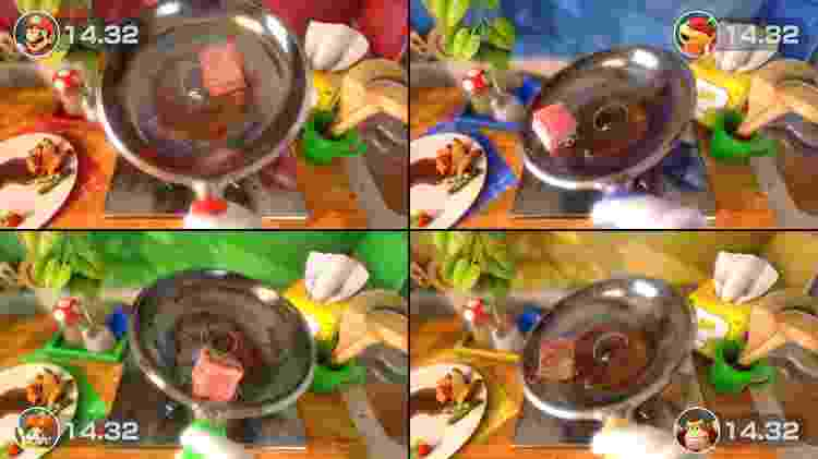 Um dos minigames tem como objetivo único fritar todos os lados de um cubo de carne - Divulgação