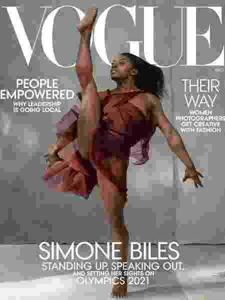 A ginasta Simone Biles na capa de agosto da revista Vogue americana - Divulgação
