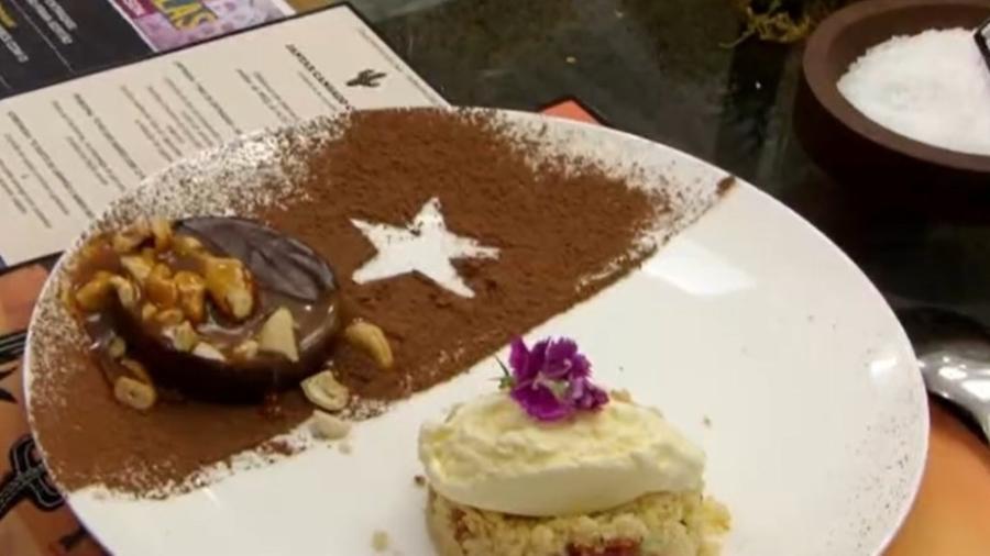 Crumble de queijo com goiabada feito por Ana Maria Braga - Reprodução/TV Globo