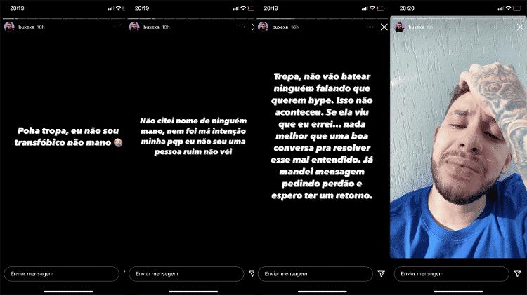 Stories Buxexa Free Fire - Reprodução/Instagram - Reprodução/Instagram