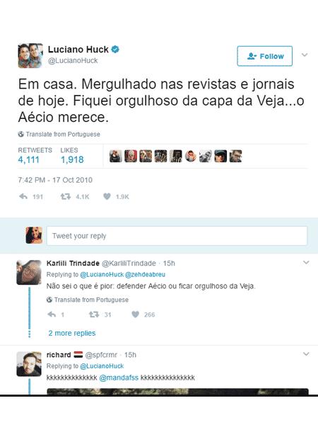 Luciano Huck criticado por apoiar Aecio - Reprodução/Twitter - Reprodução/Twitter