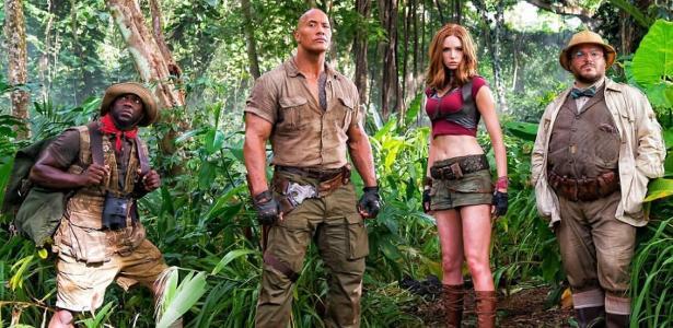 "Kevin Hart, Dwayne Johnson, Karen Gillan e Jack Black em ""Jumanji: Bem-Vinda à Selva"""