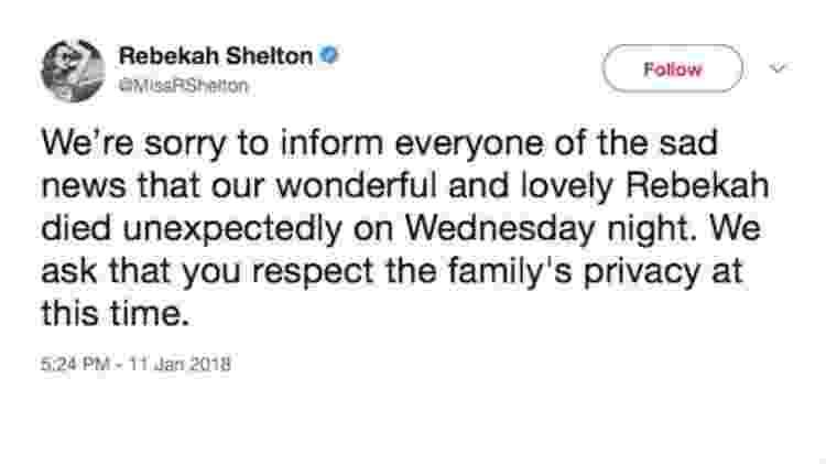 Mensagem no Twitter dizia que Rebekah Shelton havia morrido; comunicado foi deletado - Reprodução/Twitter - Reprodução/Twitter