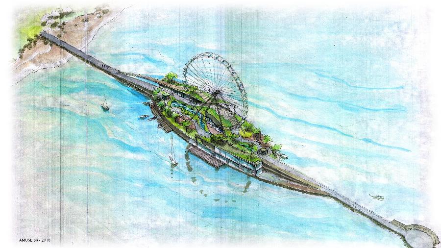 Croqui do projeto de uma roda gigante de 100 metros na praia de Iracema, em Fortaleza - Divulgação