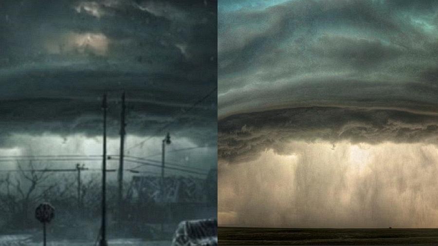 A tempestade da série (esq.) e a tempestade da foto de Sean R. Heavey - Reprodução