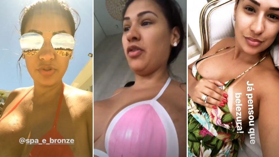 """Simone usa dois """"modelos"""" de biquínis adesivos e depois mostra resultado - Reprodução/Instagram"""