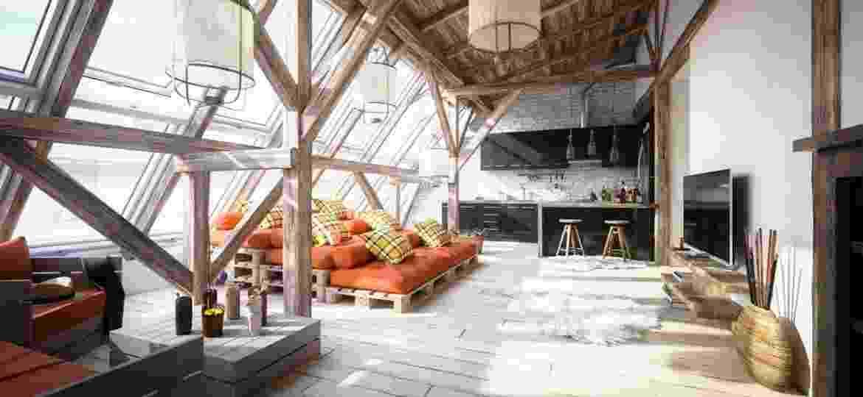 Cômodo decorado no estilo escandinavo com cama, cadeiras e mesas formadas por pallets - Getty Images/iStockphotos