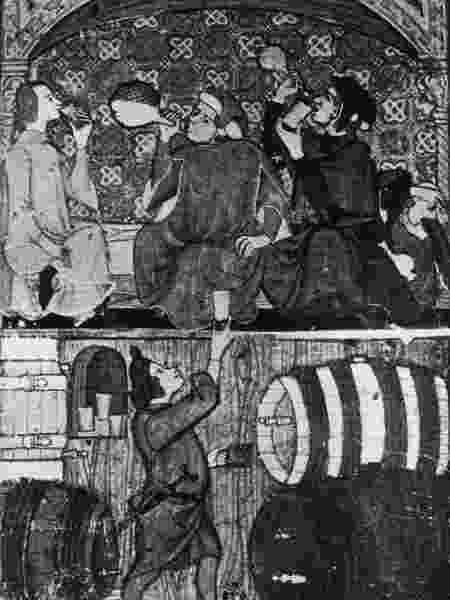 Desenho de 1350, de uma taverna medieval - Getty Images - Getty Images
