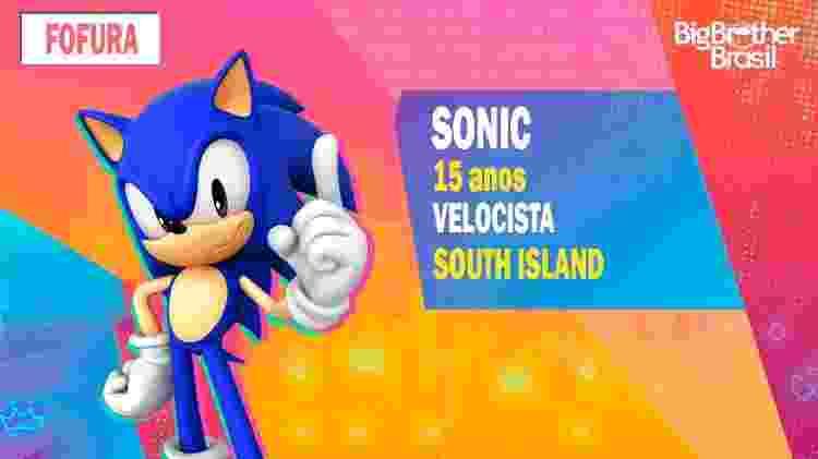 Sonic no BBB - Montagem: Allan Francisco / Divulgação (Sega) - Montagem: Allan Francisco / Divulgação (Sega)