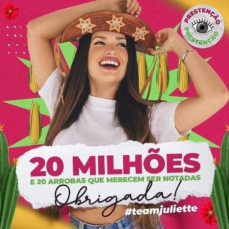 BBB 21: Juliette alcança 20 milhões de seguidores no Instagram