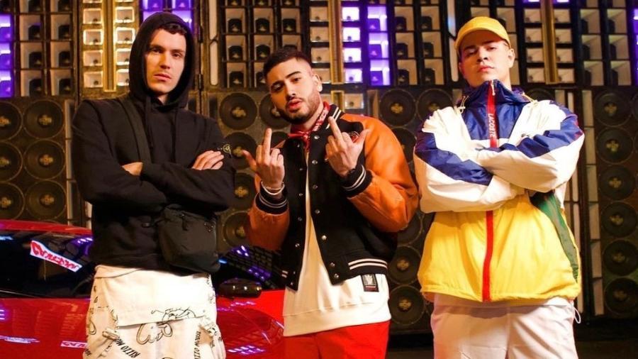 Aron Piper, Kevinho e Jottape gravam videoclipe - Reprodução/Instagram