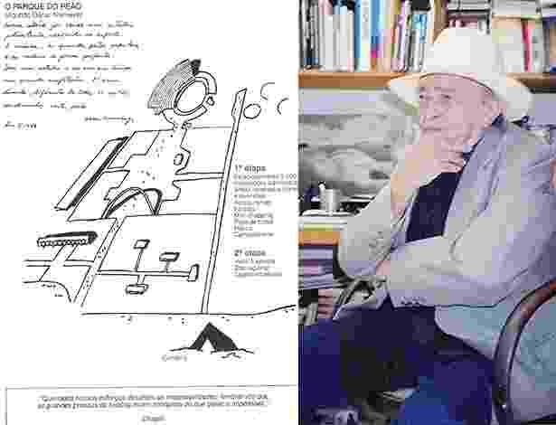 O projeto que o arquieto Oscar Niemeyer assinou em 1985 para a construção do Parque do Peão em Barretos - Divulgação/Montagem UOL