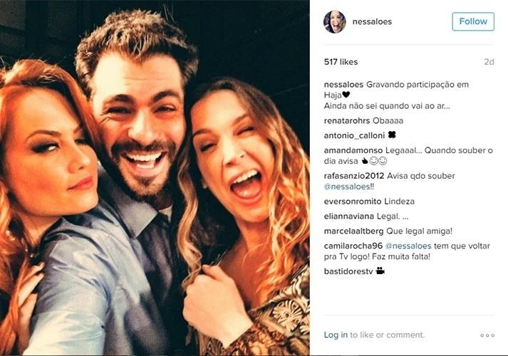 29.jun.2016 - Vanessa Lóes e Thiago Lacerda gravam participação em
