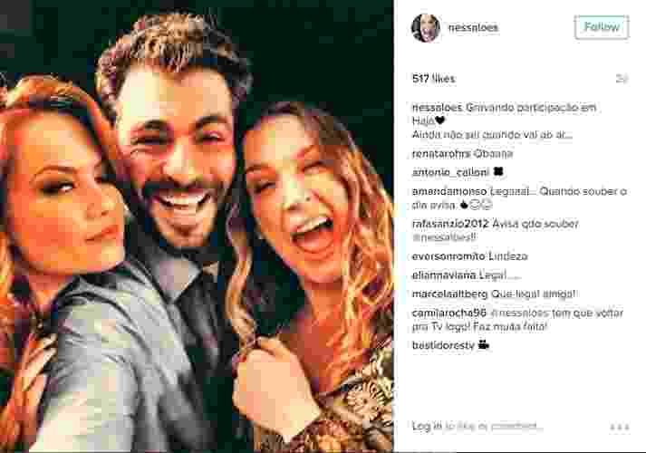 """29.jun.2016 - Vanessa Lóes e Thiago Lacerda gravam participação em """"Haja Coração"""" ao lado de Ellen Rocche. """"Gravando participação em Haja. Ainda não sei quando vai ao ar..."""", escreveu Vanessa em seu Instagram - Reprodução/Instagram/nessaloes"""