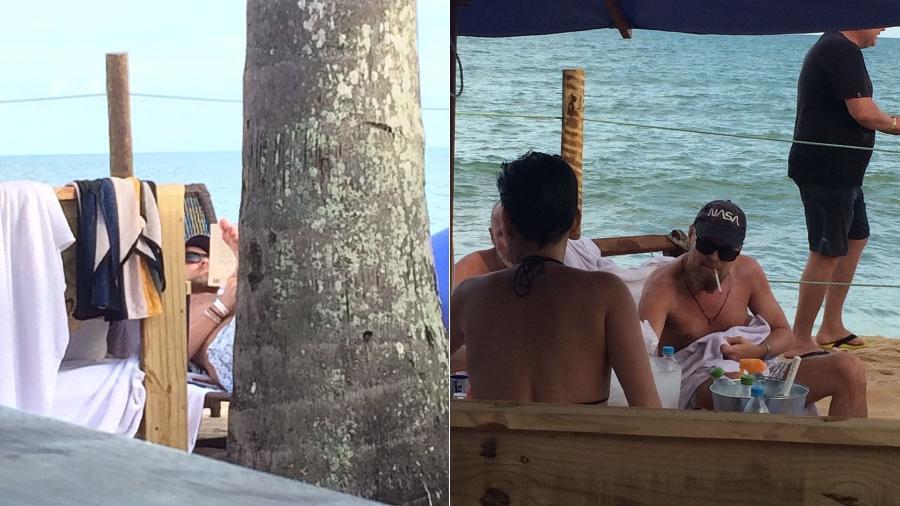 Leonardo DiCaprio é fotografado na praia do Espelho, em Trancoso (BA) - Montagem/Divulgação/Coletiva Comunicação